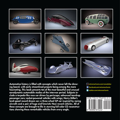 Streamlined Dreams Rear Book Cover (zichek8924) Tags: automobile streamline rocketcar landspeedrecordcar harrymiller maxvalier alexanderlippisch teardrop styling racecar josefmickl mercedesbenz ferdinandporsche t80 geebee indycar recordbreaker concept patent