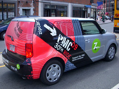 The 2009 PMC-themed Zipcar seen in Boston's North End.