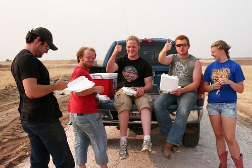 James, Johan, Rolly, Callum and Hattie at dinnertime.