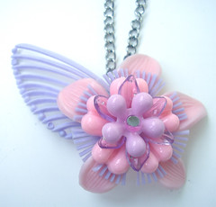 Purple and Pink Vintage Flowers Necklace