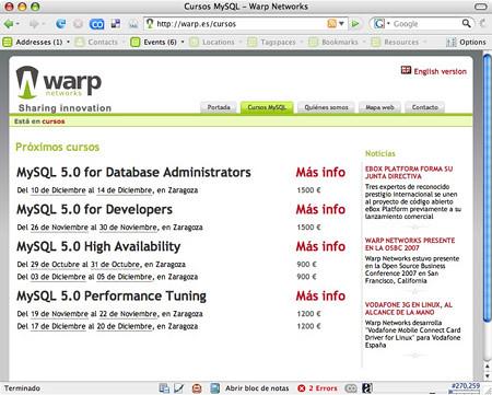 hCalendar in MySQL courses
