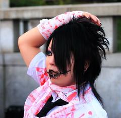 Harajuku - Blood Splattered 1 (jpmatth) Tags: street travel color 20d girl fashion japan digital canon eos tokyo weird lenstagged harajuku 2007 visualkei jingubashi ef50mm14