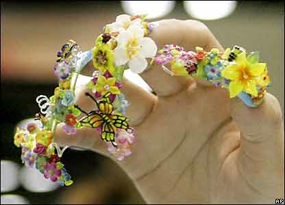 Ran across some strange nail art photos while poking around the Web tonight.