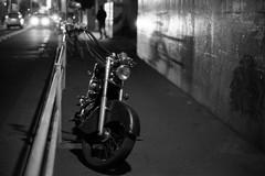 Nakano.. (F_blue) Tags: night tokyo fuji nakano motorcycle 50mm12  nikomatel neopan400presto fblue2008