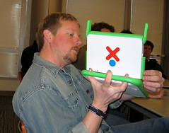 Scott Lemon shows off his XO Laptop