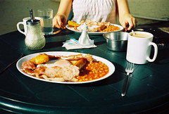 yum yum (lomokev) Tags: food sarah breakfast bacon beans dof tea folk egg salt knife sausage plate sugar depthoffield friedegg hashbrowns macs fryup cutlery sarahp fullenglish breaky plastictable macscafe rockcakes rockcake flickr:user=rockcake flickr:nsid=52261030n00 file:name=080128contaxt208
