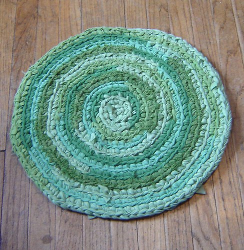 Mixed Greens Crochet Rug
