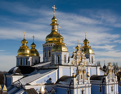 Saint Michael's Golden-Domed monastery, Kiev, Ukraine (mikilak) Tags: church saint architecture canon geotagged golden cathedral ukraine monastery christianity stmichaels domes orthodox kiev kyiv  michaels     supershot saintmichaels 400d canonef2485mmf3545usm platinumheartaward