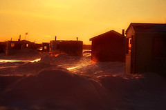 Sunset Avenue (Imapix) Tags: sunset orange sun canada photo photographie quebec blowingsnow icefishing coucherdesoleil cabins sunsetavenue poudrerie brimbale lacstpierre fishingcabin aplusphoto imapixphotography gatanbourquephotography