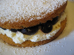 Victoria sponge with cherries