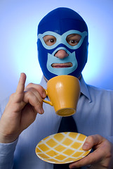365 - 247 - Mask Week - cup of rosie lee (the brownhorse) Tags: blue selfportrait mask tea luchador luchalibre cupoftea littlefinger cupandsaucer teadrinking shirtandtie mexicanwrestlingmask 365days brownhorse strobist luchaloco flashgel maskweek elbrownhorseenio