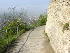 Jenzig mountain (:Linda:) Tags: shadow mist mountain germany landscape town thringen spring path jena thuringia limestone handrail railing schatten thuringian jenzig madeofstone kalkstein aussteingemacht gegenstandausstein jenaimfrhling