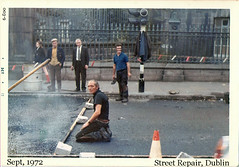 Street Repair (ColleenM) Tags: road street old ireland dublin green all group repair asphalt 1972 003 kodacolor countydublin ststephen kodakpony135 postcardireland csmlabel