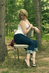 CRW_9605 (goldenticketstudios) Tags: woman sexy girl beautiful high cabin woods tank top farm rustic jeans logcabin heels wilderness