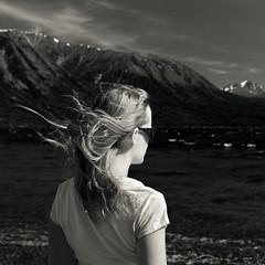 tutshi (two shy) wind (eyebex) Tags: blackandwhite bw woman lake mountains delete10 hair t back bc wind head windy save6 tee squarecrop 610 tutshilake