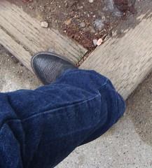 boulet00067 (clockner2) Tags: brown leather cowboy boots wranglers jeans denim buckaroo wranglerjeans bullhide bouletcowboyboots