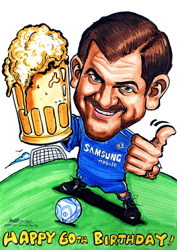Caricature Chelsea soccer player & beer