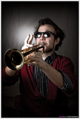 The Trumpet Player (<Dieter>) Tags: lighting light music male sunglasses leuven photoshop studio model poem belgium trumpet player vlaanderen vlaamsbrabant pellenberg strobist diamondclassphotographer smallstrobe twaaaat