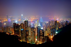 Victoria harbor, from Victoria Peak - Hong Kong SAR (ttstam) Tags: china longexposure nightphotography trip travel night hongkong asia  hdr hdri symphonyoflights pearloftheorient  hkq2fave pravda052009 pravdaprint