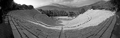 epidaurus theater (Dimitris Ladopoulos) Tags: bw panorama landscape ancient theater day outdoor panoramic greece epidaurus stiched dimitris ladopoulos