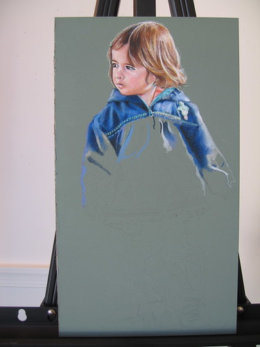 In progress photo of colored pencil drawing entitled Walking...