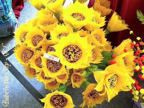 Flowers fashioned out of dried leaves - close up sunflower