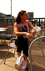 Su-May (Su--May) Tags: uk pink sun london rooftop fun star all chairs outdoor soho rail sunny sneakers converse tuesday sole allstar chucks roofterrace converseallstar inthesun converseshoes sumay may2008 girlswearingconversechucks remtee