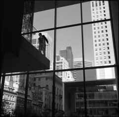 Sentinel at MOMA (DouglasBray) Tags: new york bw usa ny newyork color self voigtlander moma museumofmodernart developed guardian sentry skopar perkeo momamoment sentinelatmoma momaguardian momasecurity momasentry momaminder momamoments