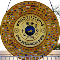WORLD PEACE GONG (fabiogis50) Tags: trip travel asia peace flags laos gong vientiane worldpeacegong