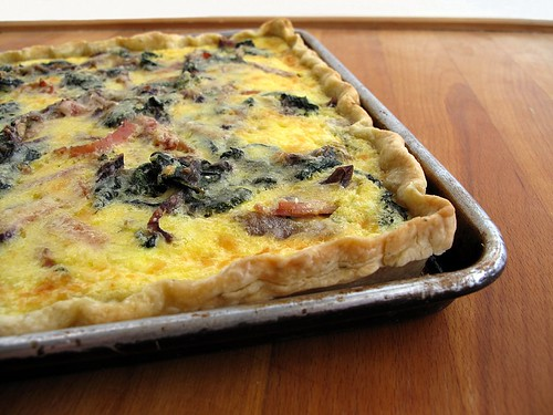 spinach, nettle, and ham quiche
