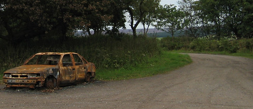 Burnout car in wood, N.Yorks