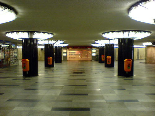Astoria subway station at night, Budapest