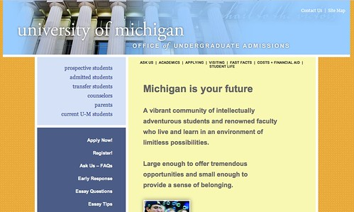The University of Michigan Undergraduate Admissions website