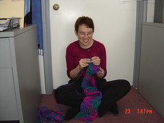 "2005-02-24 Beth knits wavy scarf • <a style=""font-size:0.8em;"" href=""http://www.flickr.com/photos/20166766@N06/1975622712/"" target=""_blank"">View on Flickr</a>"