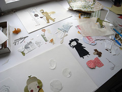 snipp snipp (Camilla Engman) Tags: collage paper studio progress e cutting