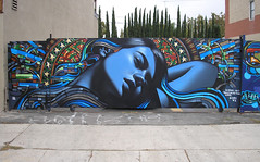Mac & Retna - Los Angeles (elmac.net) Tags: blue art girl wall graffiti la mac mural tribal cc letter 7th brea themac elmac retna digitalretnacom elmacnet