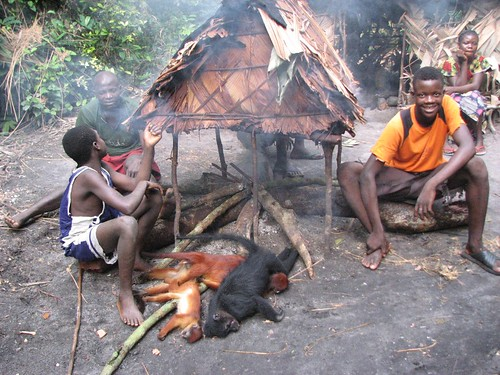 Hunters with their kill, all part of daily life here in the forest