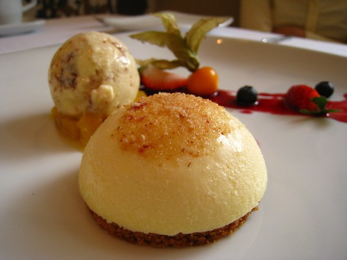 Manchego Cheese Cake with Vanilla & Thyme-Pineapple Compote.JPG