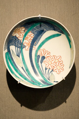 Dish with Daffodil and Wave Design (mark6mauno) Tags: county art japan museum losangeles los nikon dish angeles wave daffodil nikkor porcelain lacma d3 nabeshima ev7 nikond3 2470mmf28g