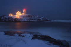 Nubble Blizzard (Jim Salge) Tags: christmas longexposure lighthouse lights holidays maine newengland christmaslights mainecoast facebook nubblelight yorkbeach nubble nubblelighthouse betterthangood