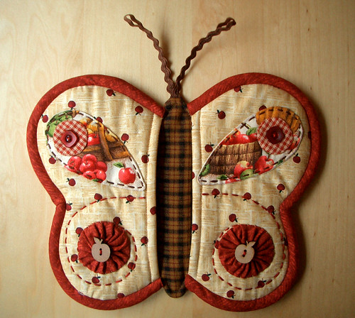 Butterfly Potholder 6 por PatchworkPottery.