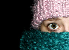 Just came home... (Eln Elsabet) Tags: christmas pink snow green hat scarf outside eyes panda explore mascara eyeliner imuploadingalotrecentlyd wewentsnowslidiiiing sprikl
