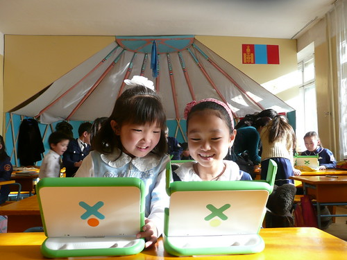 Carla Gomez-Monroy's photo of happy XO laptop recipients in Ulaanbaatar, Mongolia