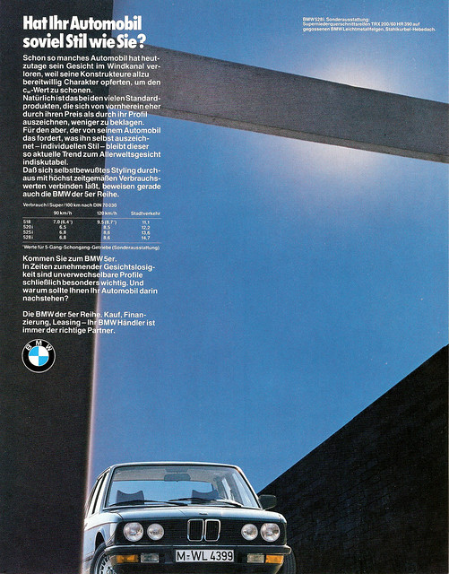 auto old classic cars car vintage advertising ad voiture advertisement advert older bmw autos werbung 525 reklame 520 voitures 525i anzeige 518 5er 528i e28 528 520i