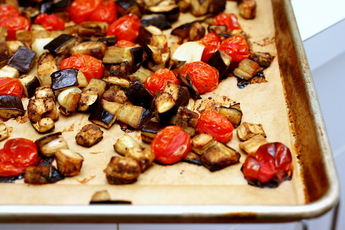 roasted eggplant, tomatoes
