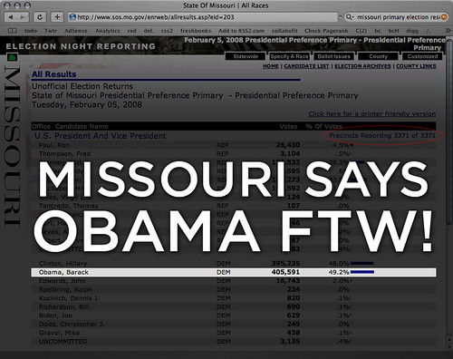 Missouri Says Obama FTW!