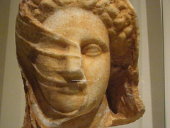 Greek statue, 4th century BCE: Marble head of a veiled woman (zannect) Tags: art met metropolitanmuseum greekromanart