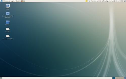 La pantalla inicial de Fedora
