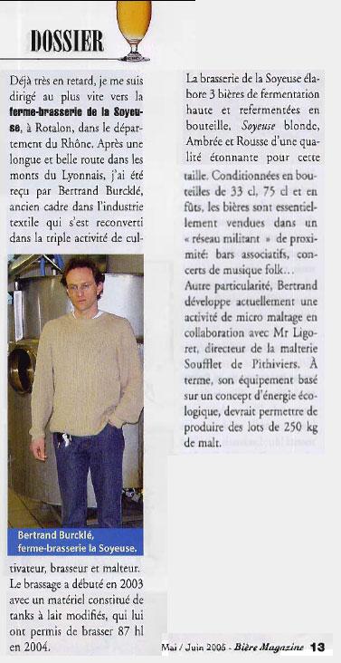 article dans Bière magazine mai-juin 2005