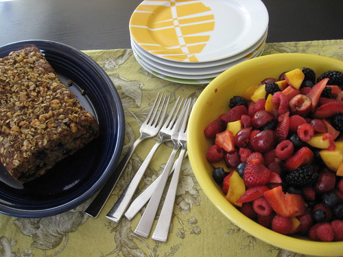 Brunch: Blueberry Banana Bread and Fruit Salad